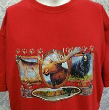 Wildlife Moose Bear Wolf T Shirt Mens XL Iron On Red Cotton Diamond Star
