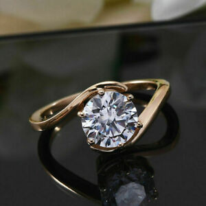 2 Ct Round Cut VVS1 Diamond Solitaire Promise Ring 14K Rose Gold Over