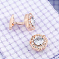 Rose Gold Crystal Zircon French Cufflinks Men's Shirt Business Cuff Nails