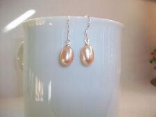 "Pink/Blush Cultured Fresh Water Pearl Earrings .925 Silver Hooks 1"" Drop   NEW"