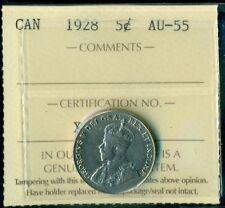 1928 Canada King George V Five Cent ICCS AU-55