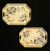 Pair of Antique French tin trays. Toleware hand painted. Violets. Reticulated
