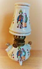 "Vintage Miniature Decorative Porcelain Oil Lamp Ceramic Folk Art Musician 6"""