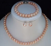 7-8mm rosa Akoya Perlenkette Armbandohrring Sets