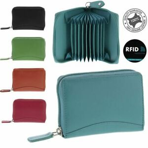 Unisex Stretch RFID Safe Soft Leather Expandable Zip Around Card Wallet New