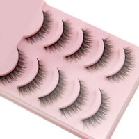 5 Pairs Natural Short Cross False Eyelashes Handmade Makeup Fake Eye Lashes AR