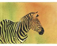 ZEBRA Contemporary Watercolor Abstract ART Print by Artist DJR