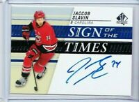 2019-20 UD SP AUTHENTIC JACCOB SLAVIN AUTO SIGN OT TIMES HURRICANES PD