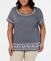 Karen Scott Womens Blouse Scoop Neck Short Sleeve Striped Intrepid Blue 3X New