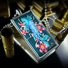 Japanese Koi Fish Oriental Tattoo Design Sterling Silver Glass Pendant Necklace