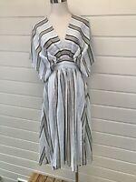 New LABEL OF LOVE White & Blue Striped Short Sleeve Midi Dress - Size 8