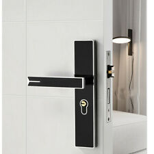 Simple Alloy Privacy Door Security Entry Lever Mortise Handle Locks Set Black