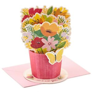 Hallmark Pop Up Paper Wonder Card ~ Just Because  Thinking of You Floral Bouquet