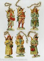 Winter-Engel Viktorianischer Christbaumschmuck Glanzbilder geprägt Goldtinsel