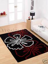 LARGE THICK RED WHITE BLACK FLOWER MODERN RUG 160x220cm