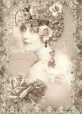 Fabric Block Vintage Altered Postcard Elegant Victorian Lady ~Chic & Shabby~