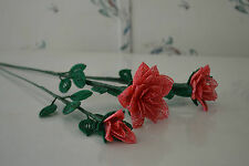 New 3 handmade French beaded Flowers watermelon pink opal rose roses