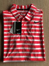 Nike Breathe Striped Standard Fit Coral/White Golf Polo Shirt 833065 653 NWT