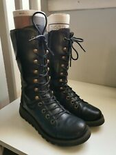 Women's FLY London Black Leather lace-up Boots Size39/UK6