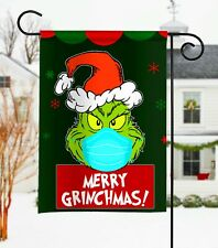Merry Grinchmas With Mask On Flag, Christmas Flag, Garden Flag, Wall Flag 2020