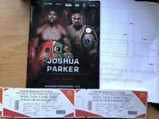 Anthony Joshua V Joseph Parker signé billets plus programme officiel