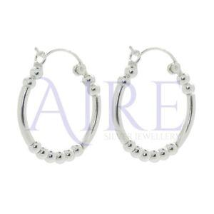 Genuine Sterling Silver 25mm Hoop Earrings with 3mm Balls (SE0542)