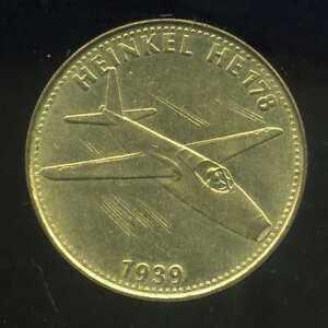 jeton SHELL  HEINKEL  HE  178     1939  ( bis )