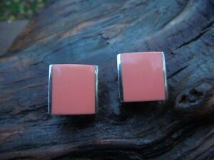 Sterling Silver Geometric Coral Agate Square Omega Back Earrings