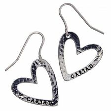 St Justin Pewter Welsh Cariad Heart Drop Earrings in Gift Box UK Made PN914