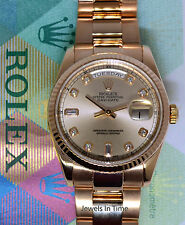 Rolex Day-Date 18k Rose Gold Diamond Dial Mens Watch Box/Papers 118235