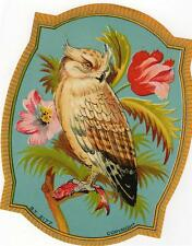 ORIGINAL VINTAGE TICKET (FABRIC) LABEL - DIE CUT OWL - INDIAN EXPORT 1920/30