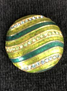 Vintage Alice Caviness Rhinestone Pin Brooch Goldtone Chartsuse Green