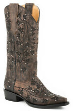 Stetson Desiree Snip Ladies Brown Leather 13in Embroidered Boots