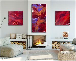 Modern 3-Piece Abstract Original Painting, Red Canvas Wall Art, Framed X Willis