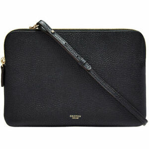 NEW OROTON Avalon Large Double Clutch Leather Cross Body Bag Black Tag Dustbag