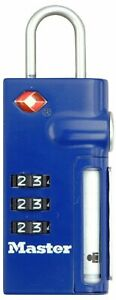 MASTER LOCK TSA 3-Dial Combination Lock with with Retractable ID Tag - BLUE
