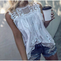 M New Boho White Crochet Lace Boho Blouse Top Tank Vtg 70s Ins Womens MEDIUM NWT