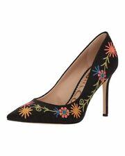 Sam Edelman Hazel Pointed Toe Black Embroidery Floral Heels 11145 Size 8.5 W
