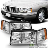 Replacement 1997 1998 1999 Cadillac Deville Headlights Headlamps w/Corner Lights