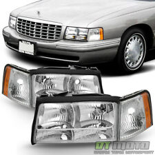 Replacement 1997 1998 1999 Cadillac Deville Headlights Headlamps w/Corner Lights