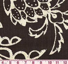 P Kaufmann St Barth Noir B&W Hopsack Weave Floral Print Upholstery Fabric BTY