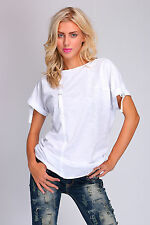 Ladies Modern T-Shirt With Stripes Short Sleeve Casual Top One Size 8-12 FT2074