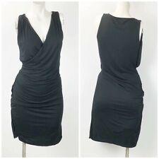 Banana Republic Small Womens Solid Black Sleeveless Faux Wrap Midi Dress