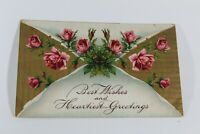 Antique Vintage Best Wishes Greeting Card Postcard 1909 Collectible Post Card