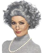 Nonnina Per Adulti Costume Kit vecchietta Set parrucca, occhiali & Perle Da Smiffys Nuovi