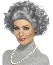 Erwachsene Oma Kostüm Set alt Damen Satz Perücke, Brillen & Perlen