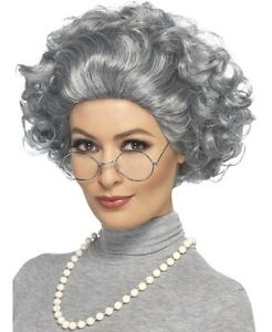 Adult Granny Fancy Dress Kit Old Lady Set Wig, Glasses & Pearls by Smiffys