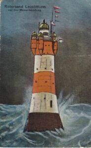 uralte AK Rotersand Leuchtturm vor der Wesermündung 1925  //08