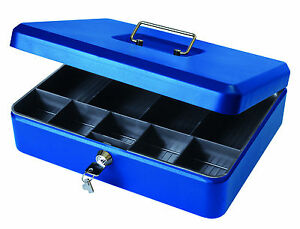 "12"" Key Lockable Petty Cash Box Metal Tin, Security Safe Money Box - Blue"