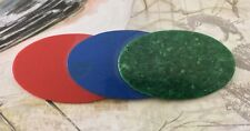 3 Oval Disk Brooch Pin Green Blue Red Fabulous Costume Piece Good Condition